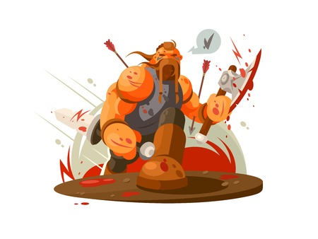 Viking battle with ax 版權商用圖片