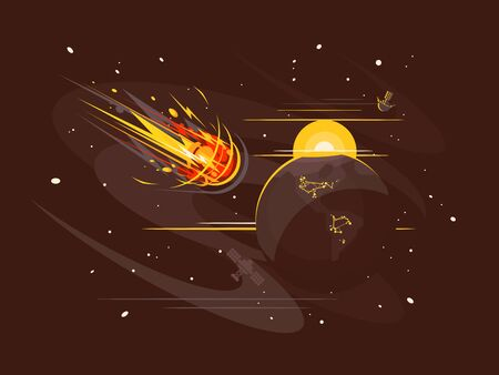 Burning comet in space