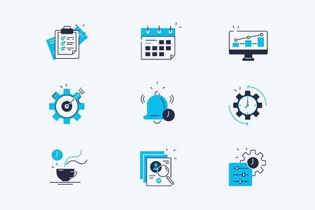 Productivity line icons set Illustration