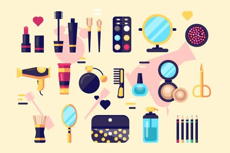 Set of cosmetics beauty and makeup icons.