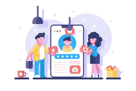 Social media personal profile illustration. Online dating app with users account for creating and share content or to participate in networking flat style. Settings messages video symbols