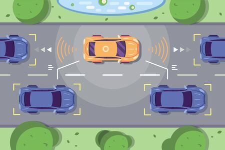 Autonomous car driving on road with sensing systems. Smart vehicle scans way observe distance and parking driverless flat style illustration. Future concept Stock Photo