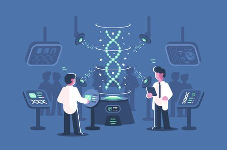 Genetics doctors researching dna in laboratory