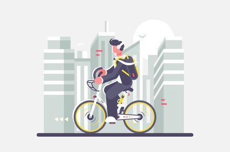 Man riding bike on cityscape background