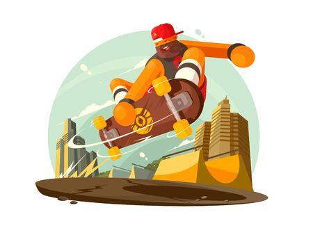 Guy riding skateboard in city