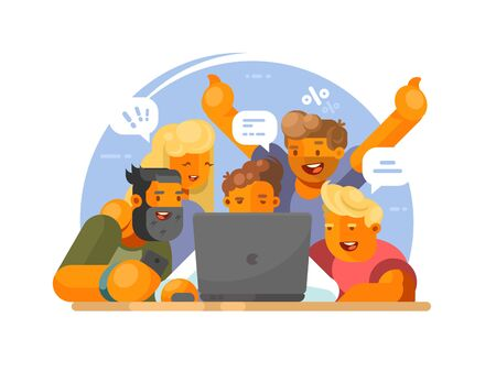 Teamwork on project. Group of happy people look in laptop. illustration Stock Photo