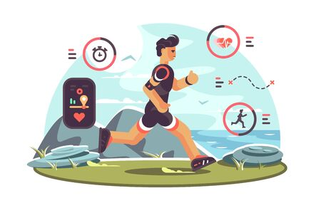 Sports apps for fitness. Man runners getting health information and other data using wearable technology fitness tracker. Heartbeat distance location pulse icons flat style concept illustration