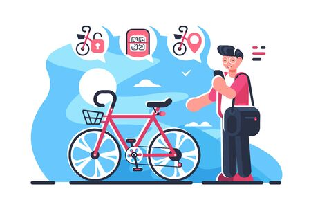 Bike sharing system station on city street. Boy holding smartphone with open mobile app and locates closest public bicycle rental flat concept illustration