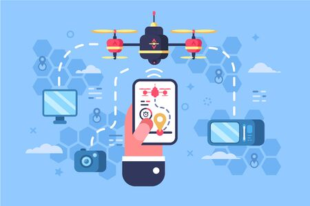 Drone delivery online service illustration. Male hand holding modern gadget and controlling quadcopter via mobile application. Technological shipment innovation concept. Autonomous logistics