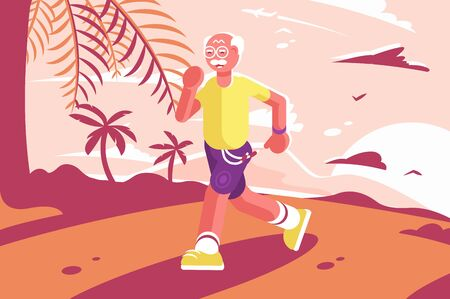 Grandpa at sports suit running at seaside. Cartoon grandfather wearing in shorts and shirt runs at palms and sunset background illustration. Healthy lifestyle and healthcare flat concept Stock Photo