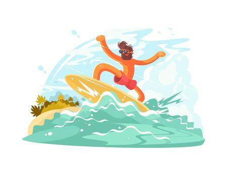 Surfer guy in sunglass sliding on big ocean wave. illustration Stock Photo