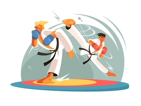 Guys karate sparring for training. Boy hits foot. illustration Stock Photo