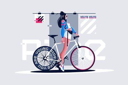 Pretty girl on roadbike