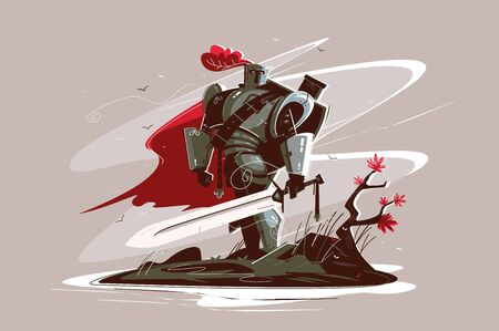 Medieval strong knight Illustration