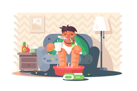 Young man catching cold vector illustration. Cartoon ill boy sitting on sofa drinking hot tea and measuring temperature flat style design. Health care concept