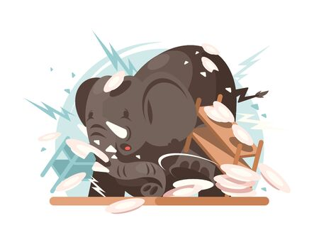 Character big elephant breaks utensils in kitchen. flat illustration