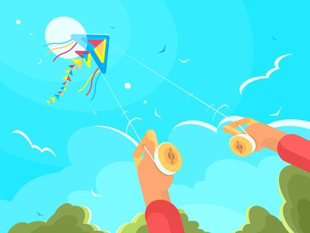 Man playing with kite launching in sky. flat illustration
