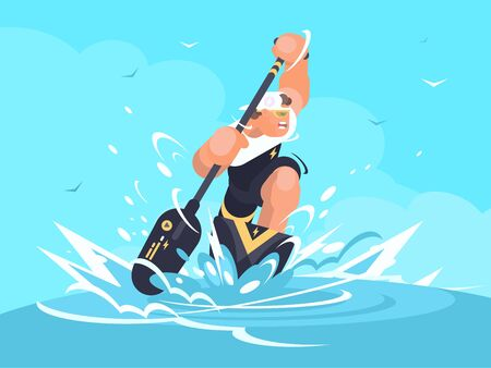 Strong man swims in canoe at sporting event. illustration