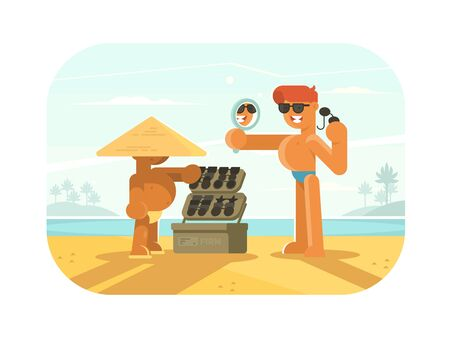 Young guy trying sunglasses on sandy beach. flat illustration