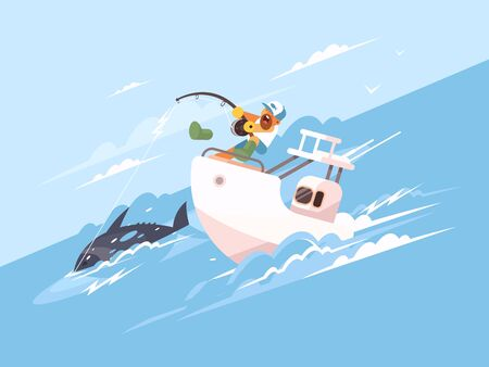 Fisherman catches tuna from yacht. Marine fishing flat illustration 写真素材
