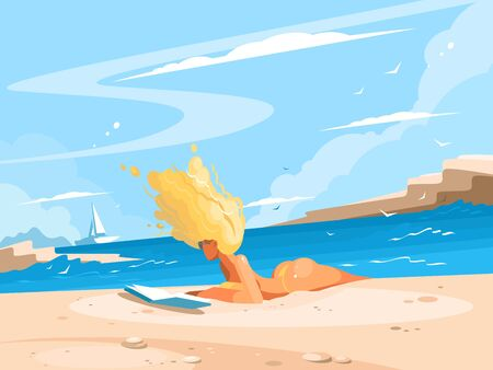 Young blond girl reading book on sunny beach. illustration