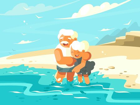 Mature couple in love embraced on shore of ocean. illustration Banque d'images - 126471534