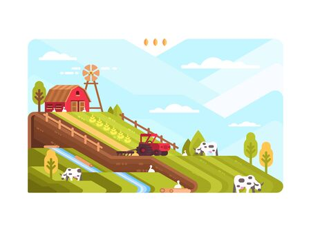 Agricultural farm with fields and livestock. Harvesting and cultivating land. illustration Stock Photo