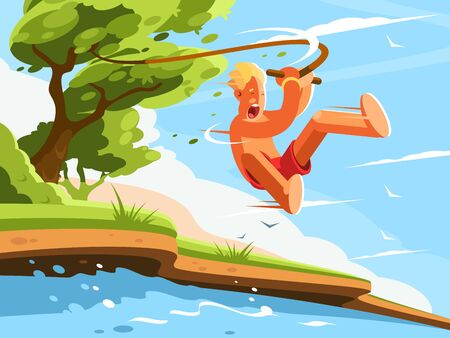 Guy jumps into water with swing on tree. illustration Stock Photo