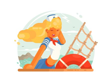 Beautiful girl sailor in cap the deck of ship. illustration Stock Photo