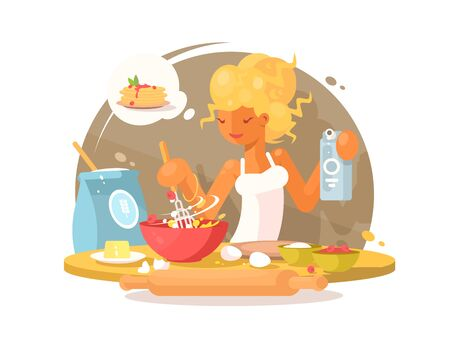 Cute young blonde woman prepares a meal in kitchen. illustration Banco de Imagens
