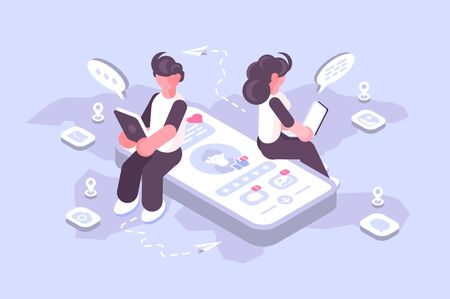 Cartoon man and woman using social media on modern gadgets. Teens surfing internet web site apps with account profile illustration. Connecting people together with cutting-edge technology Stockfoto