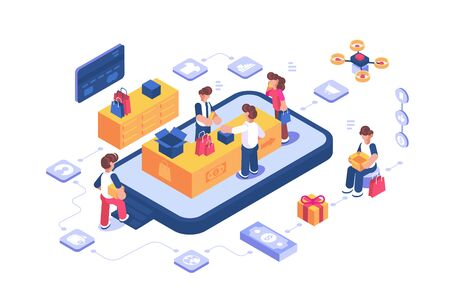 Online shopping store via internet app illustration. Cartoon people buying goods via mobile phone services and applications flat style concept. Mobile marketing and online shopping