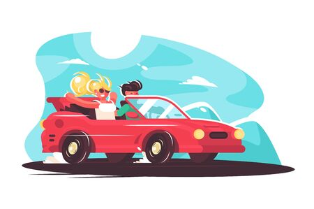 Girl with boy having fun time together illustration. Young man and woman travelling by car at summer holidays. Countryside travel ride and vacation car road trip Stockfoto