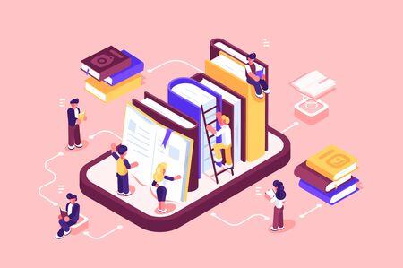 Online library media and books illustration. Cartoon people searching and reading e-book. Boys and girls using ebook for study on e-library at school flat style concept. Isolated on pink