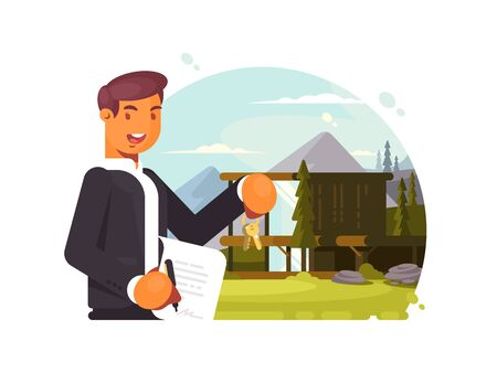 Successful realtor sells property Stock Photo