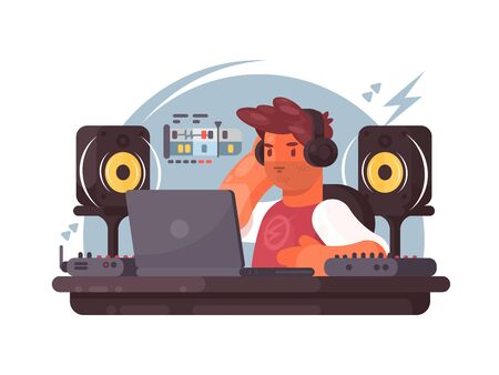 Sound designer on workplace. Man in headphones creates music track. illustration