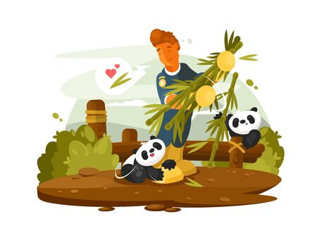 Zoo worker feeds bamboo cute animal pandas. flat illustration