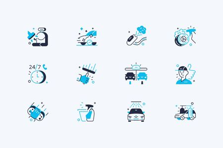 Car washing icon set