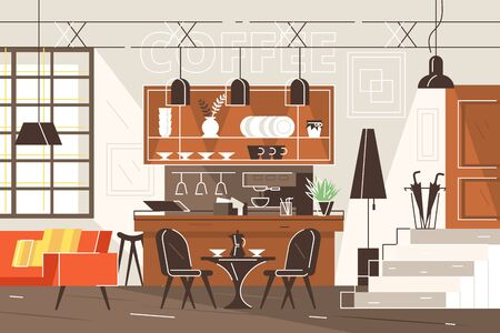 Modern interior of cafe vector illustration. Fashionable cafeteria in loft style with bar counter, sofa, metal lamps, table and chairs flat style concept.