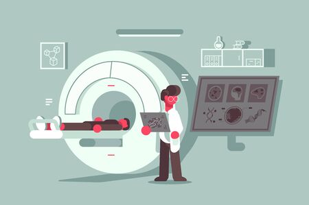 Magnetic resonance imaging procedure at hospital