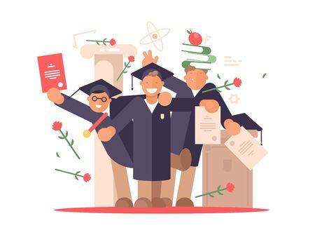 Students happy at graduation ceremony