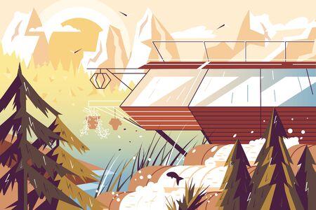 Modern house at lake Ilustrace
