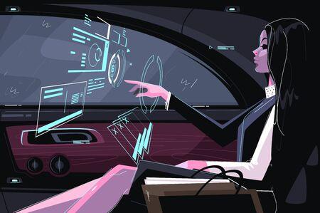 Business girl in car