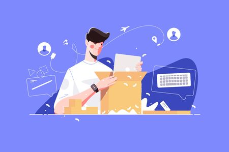 Smart man unpacking big parcel vector illustration. Young boy sitting near table and looking at purchases came in big cardboard box from distant relative or friend or online shop