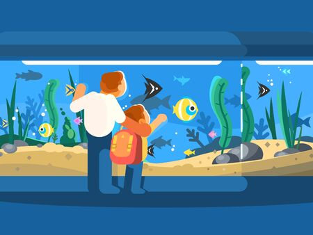 Dad with son in oceanarium. Underwater world fish and seaweed. illustration Zdjęcie Seryjne - 130837039
