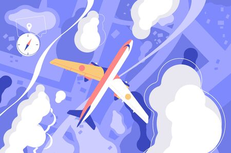 Flying airplane in sky vector illustration. Flight of aircraft among white clouds for travel and tourism design flat style concept. Ground and compass symbol Çizim
