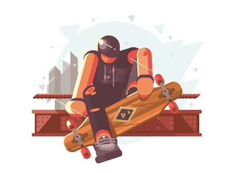 Young fashionable guy with long board in city. illustration Zdjęcie Seryjne - 132136791