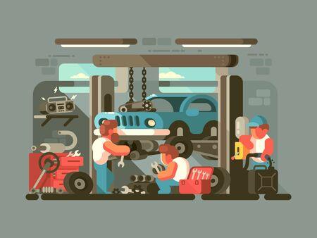 Garage auto service. Mechanics repair car engine. flat illustration Zdjęcie Seryjne - 132136796