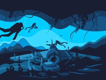 Sunken plane on ocean or sea bottom. illustration