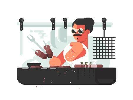 Man cooking barbecue on grill. Cook prepares meat. illustration Stok Fotoğraf